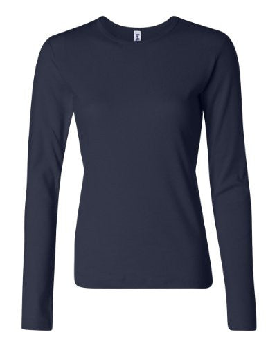 Women's Baby Rib Long Sleeve Crew Neck Tee - 5001 - (Navy - M)