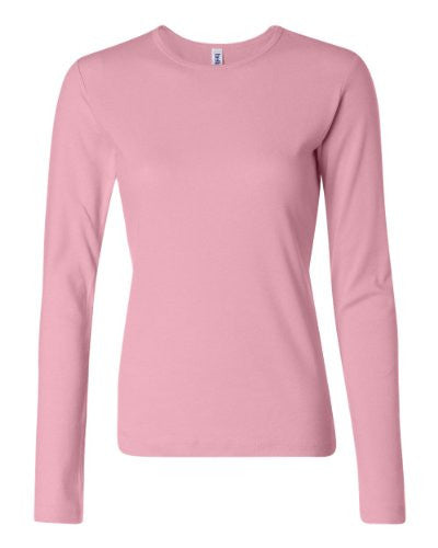 Women's Baby Rib Long Sleeve Crew Neck Tee - 5001 - (Pink - XL)