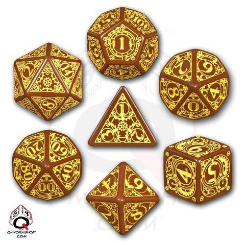 Brown & yellow Steampunk Dice (set of 7)