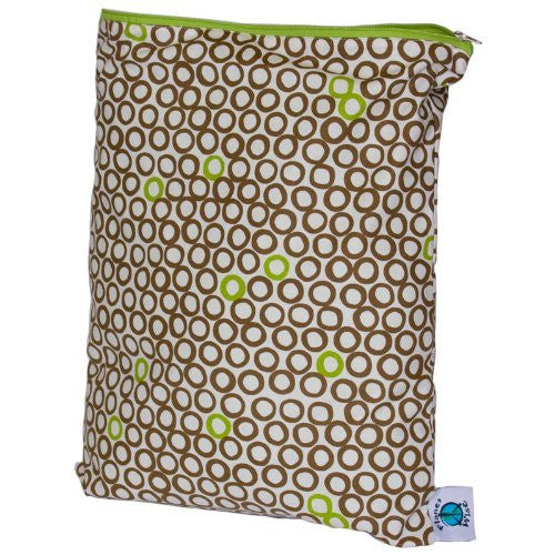 Planet Wise Wet Diaper Bag, Lime Cocoa Bean, Medium