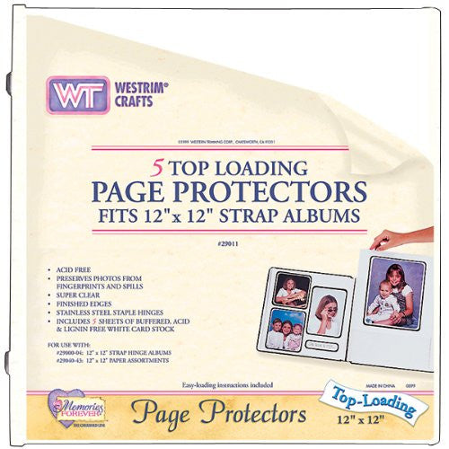"Strap Hinge Top-Loading Page Protectors 12""X12"" - White 5/Pkg"