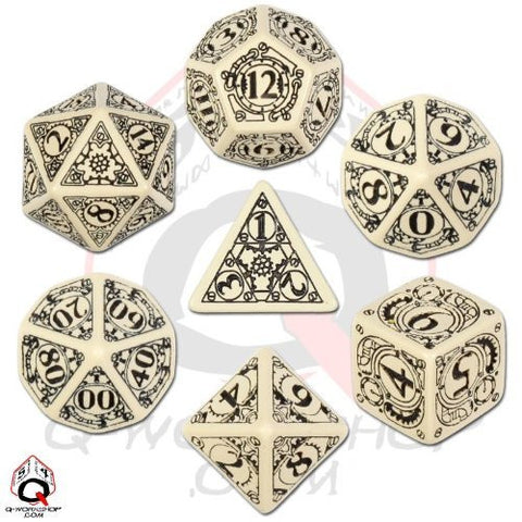 Beige & black Steampunk Dice Set (set of 7)