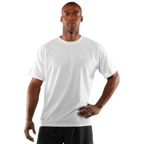 Men's Tactical Short Sleeve UA Tech™ T-Shirt Tops by Under Armour (Color: White/Clear Size:)