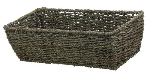 "COFFEE SMALL RECTANGULAR SEAGRASS BASKET-4""h x 14""l x 6.5""w"