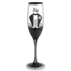 """His"" Hand Painted Champagne Flute - 8 Oz"