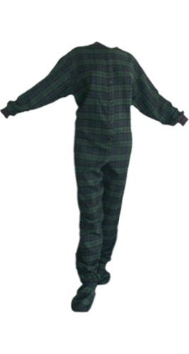 Navy Blue/Green Adult Footed Pajamas-Medium DS