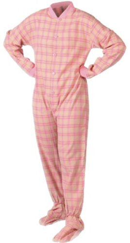 Pink/Yellow Adult Footed Pajamas-Large DS