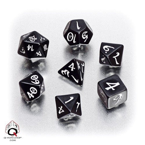 Black & white Classic RPG Dice (set of 7)