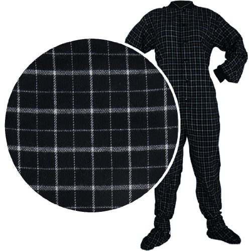 Big Feet PJs Black Plaid Flannel Footed Pajamas for Men and Women