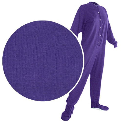 Big Feet PJs Purple Knit Footed Pajamas for Men and Women