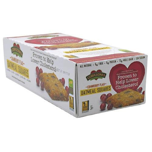 Corazonas Oatmeal Squares, Cranberry Flax, (Pack of 12)