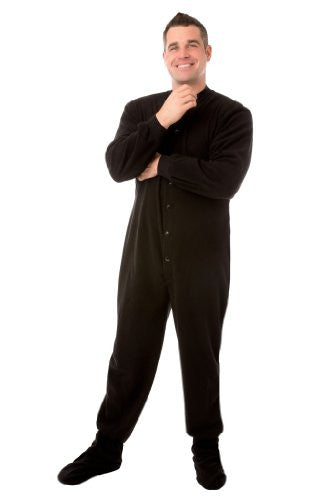 Big Feet PJs Black Micro-polar Fleece Adult Footed Pajamas with Drop Seat