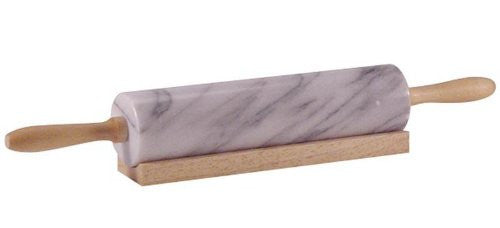 "18"" Rolling Pin Marble with Wooden Stand & Handles"
