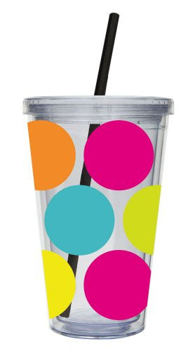 Insulated Cup w/ Straw & Twist Lid Polkadot