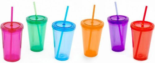 Double Walled Glass w/Straw, 6 Asst, Sm, Acrylic 16 oz