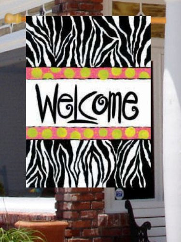 Wild Welcome Large Flag Zebra Pink Green Polka Dots