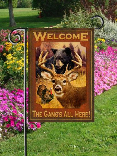The Gangs All Here - Garden Size 12 Inch X 18 Inch Decorative Flag with Bear, Deer & Turkey