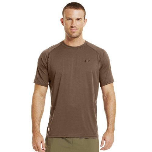 Men's Tactical Short Sleeve UA Tech™ T-Shirt Tops by Under Armour (Color: Army Brown/Clear Size:)