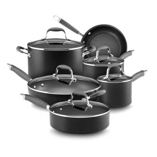 "11-Piece Set: 1.5 Qt. & 3 Qt. Covered Saucepans, 8 Qt. Covered Stockpot, 8.5"" Open Skillet, 12"" Covered Deep Skillet with HH, 3 Qt. Covered Sauté"