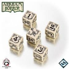 Beige & black Arkham Horror Dice (set of 5)