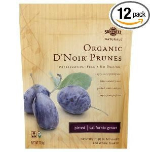 Organic Dried Fruit D`Noir Prunes, Pitted 7.0 OZ (Pack of 12)