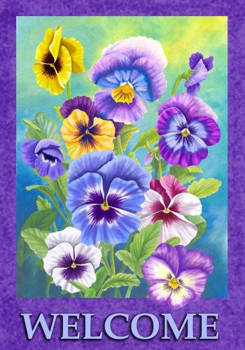Pansy Welcome Garden Flag 12 x 18