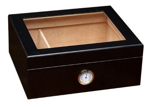 Prestige Import Group Chalet Black Glasstop Desktop Cigar Humidor