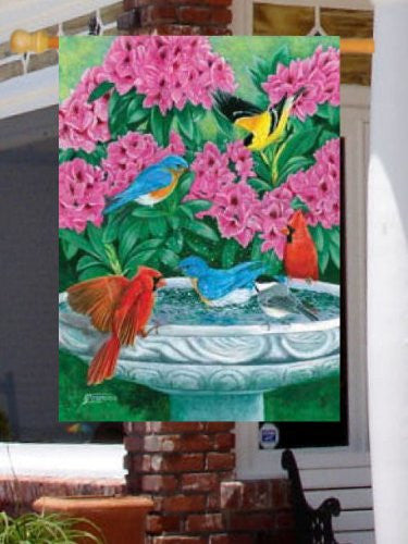 Custom Decor Splish Splash Birdbath Large Flag