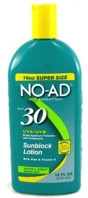 No-Ad SPF# 30 Sunblock Lotion 16 oz. (3-Pack)