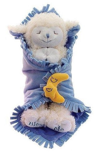 "11"" Plush Praying Lambs Blanket Babies With Sound Prays ""Now I Lay Me Down To Sleep"" (Blue for a Baby Boy)"