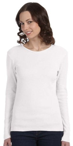 Women's Baby Rib Long Sleeve Crew Neck Tee - 5001 - (White - 2XL)