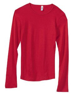 Women's Baby Rib Long Sleeve Crew Neck Tee - 5001 - (Red - S)