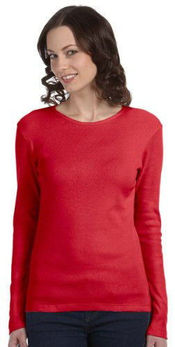 Women's Baby Rib Long Sleeve Crew Neck Tee - 5001 - (Red - L)