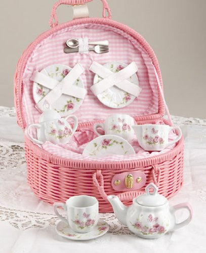 Porcelain Tea Set for 2/ Pink Basket, Pink Blush