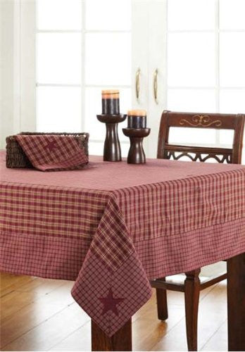 Burgundy Applique Star Table Cloth 60x60""