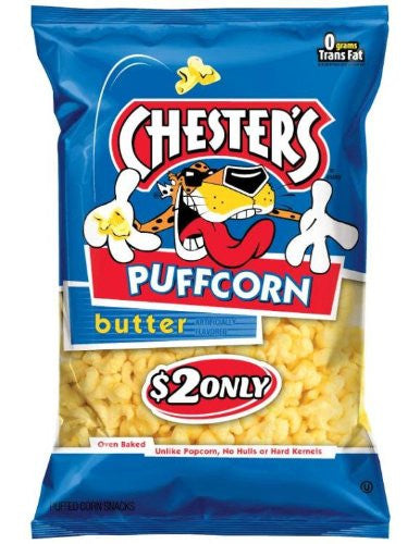 Chester's Butter Flavored Puffcorn Snacks, 3.5oz Bags (Pack of 12)