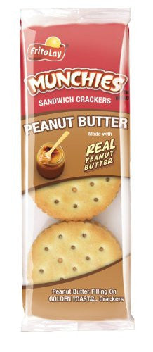 Frito Lay Munchies Peanut Butter on Toast Crackers, 1.42oz Bags (Pack of 24)