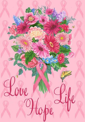 "Love, Life, Hope - Breast Cancer Awareness Garden Size 12"" X 18 "" Decorative Flag"