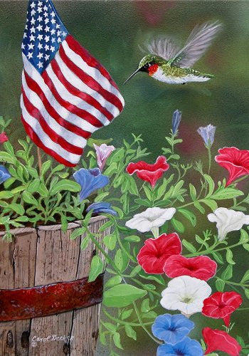 "Patriotic Hummingbird Garden Size 12"" X 18"" Decorative Flag"