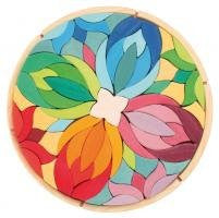 Grimm's Lara Mandala - Giant Wooden Creative Puzzle with Chunky Blocks
