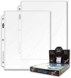 100ct BCW 1-Pocket 8.5x11 Photo Archival Storage Binder Pages