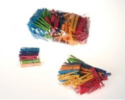 Grimm's Rainbow of Wooden Colored Clothespins - For Play & Crafts, Set of 14