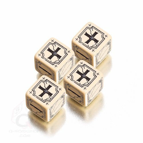 Beige & black Antique Fudge Dice (set of 4)