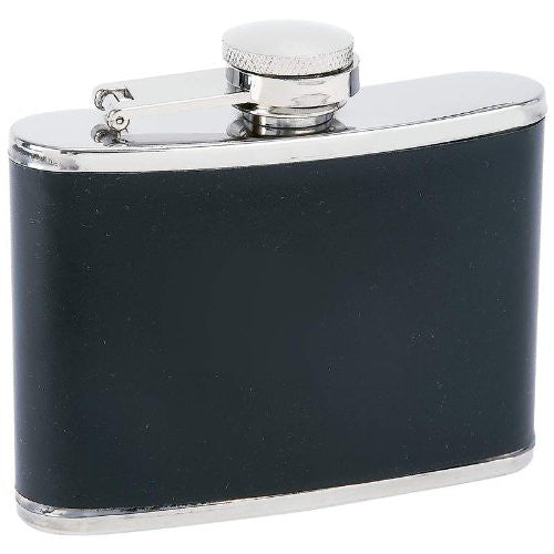Maxam® 4oz Stainless Steel Flask with Black Wrap