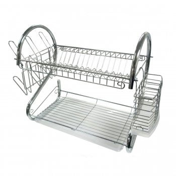 "Better Chef 22"" Dish Rack (Chrome) w/ Utensil Holder, Cup Rack and Tray"