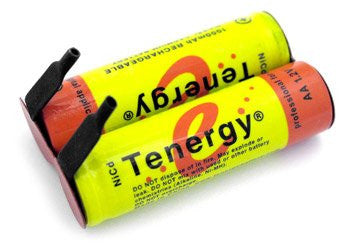 Tenergy AA NiCd Flat Top Battery With Tabs