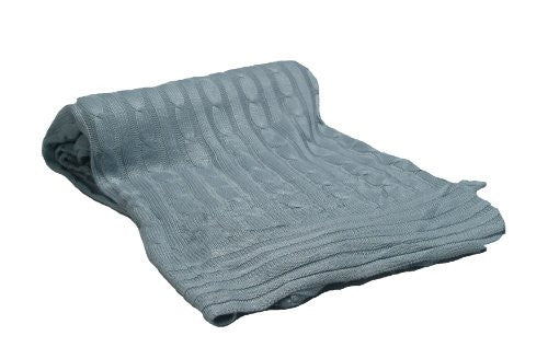 Divine Cable Knit Throw, Cornflower Blue