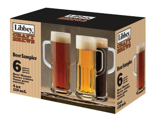 Libbey Craft Brews 4-Ounce Clear Beer Sampler Glass Set, 6-Piece