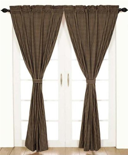 Black Check Panel Set of 2 84x40""