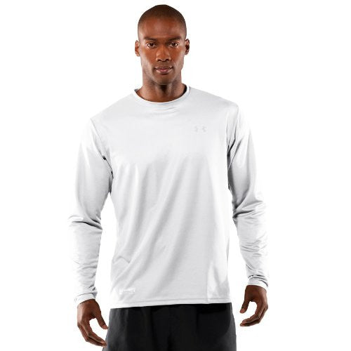 Men's UA HeatGear® Tactical Long Sleeve T-Shirt Tops by Under Armour (Color: White/White Size:)